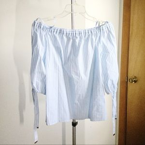 Michael Kors Striped Off the Shoulder Top Size S